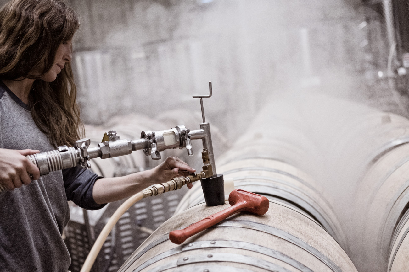 DuMOL Winery Jenna Gargrave filling barrel